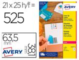 Etiqueta Adesiva Permanente Avery Para Laser Printer Branco 63,5x38,1 Mm Caixa De 525 Pcs.