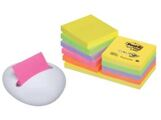 12 Bloco de Notas Aderentes 76x76mm Post-It Z Note Zig-Zag 330NR + Dispensador Branco