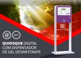 Quiosque Digital com Dispensador Gel Desinfetante Covid-19