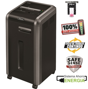 Destruidora de Papel Fellowes 225Mi, 14 Fls, 60L, CD/DVDs com Rodas