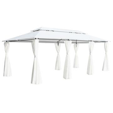 Tenda Exterior Gazebo Com Cortinas 600x298x270 Cm Branco