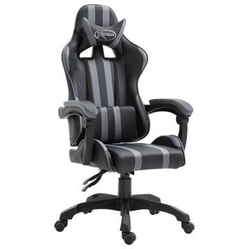Cadeira De Gaming Com Apoio De Pés Pele Sintética Cinzento