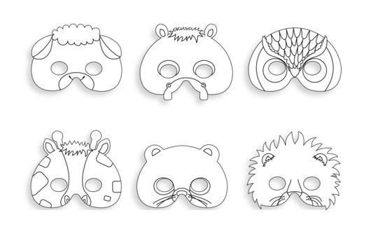 Mascaras De Cartao Para Colorir Em Forma De Animais Apli Na Loja