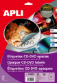 Etiquetas Cd-dvd Permanente Opaco Ext ø 117 Int ø 18