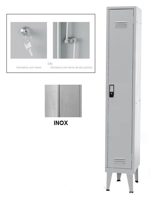 Cacifos Inox Simples 1 Cacifo 1700x300x400 mm Chave