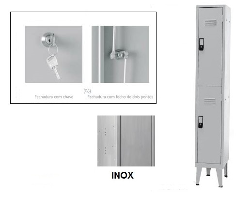 Cacifos Inox Simples 2 Cacifos 1900x300x500 mm Chave