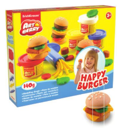 Kit de massa de modelar Happy Burger 4 Cores x 35 g