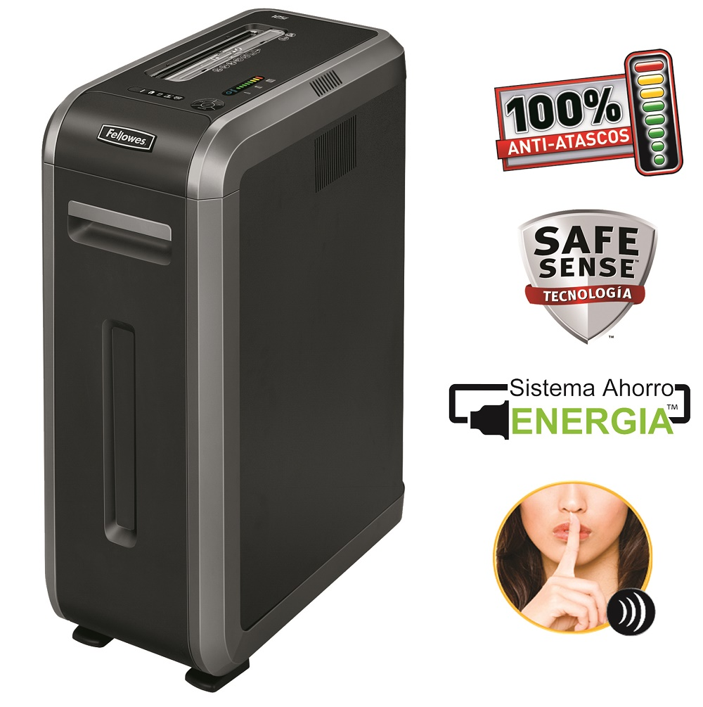 Destruidora de Papel Fellowes 125Ci, 18fls, 53L, CD/DVDs com Rodas