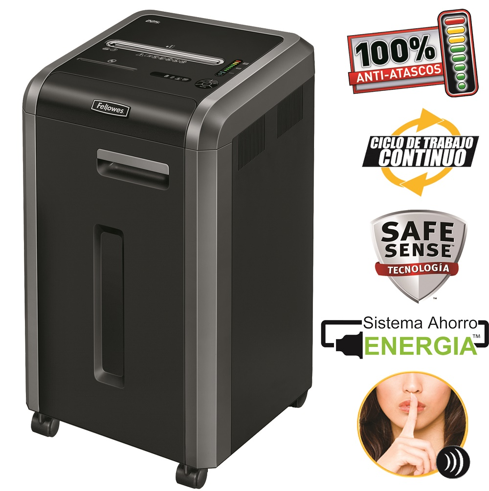 Destruidora de Papel Fellowes 225Ci, 22 Fls, 60L, CD/DVDs com Rodas