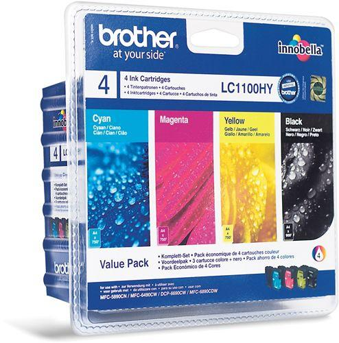 Tinteiro Brother Pack 4 Cores LC1100HYVALBP